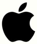 Apple white color type logo dsign